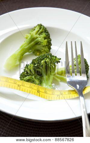 Close Up Broccoli With Measure Tape