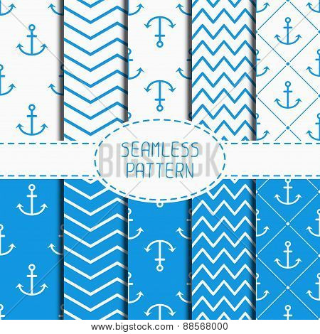 Set of blue marine geometric seamless pattern with anchor. Wrapping paper. Collection of paper for s