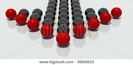 Mirroed Balls In Arrow Shape