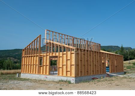 Frame of building a wooden house