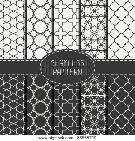 Set of geometric monochrome lattice seamless arabic pattern. Islamic oriental style. Wrapping paper.