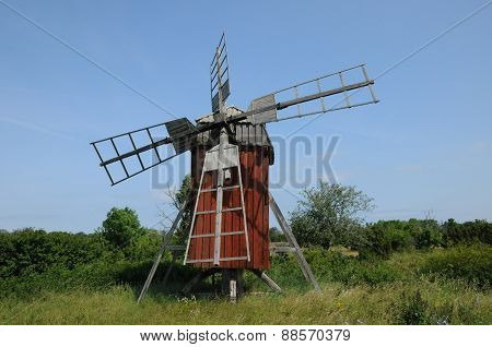 Sweden, Old And Historical Windmill Of Storlinge