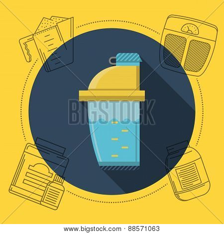 Flat color vector illustration for sports nutrition