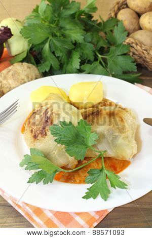 Braised Cabbage Rolls With Potatoes And Parsley