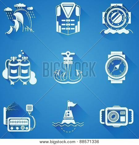 Marine elements white vector icons