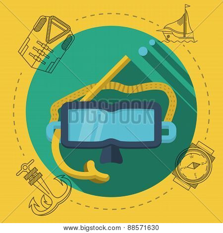 Flat color vector illustration for diving