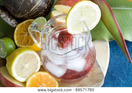 Strawberry Soda In Glass Jar