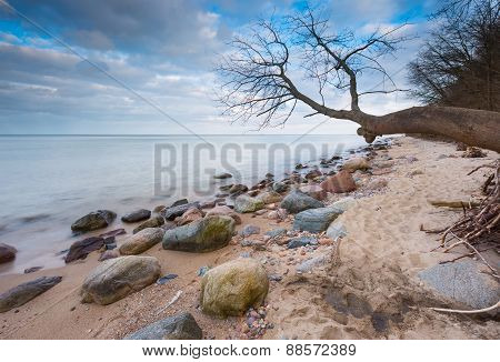 Beautiful Long Exposure Landscape Of Rocky Sea Shore