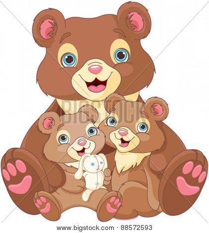 Illustration of  bear family