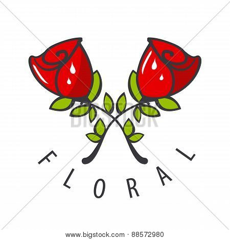 Vector Logo Two Red Roses