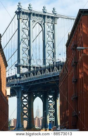 Famous view at Manhattan Bridge in New York City