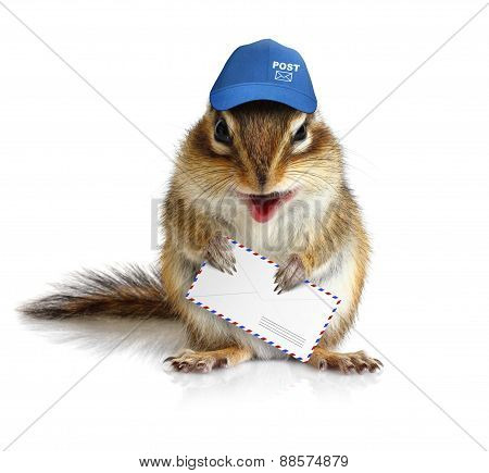Comical Chipmunk Postman Hold Mail Envelope, On White