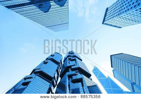 Hong Kong,China - January 26, 2015: Low angle view of skyscrapers in Hong kong.