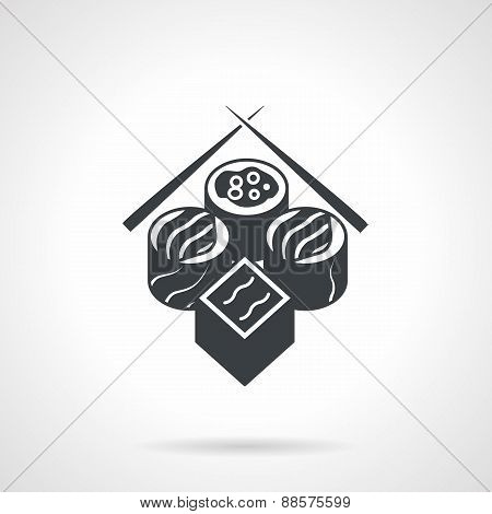 Sushi set black vector icon