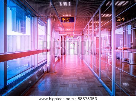 Hallway in Building with glass - flare effect