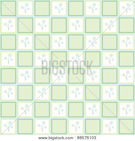Gentle Floral Seamless Checkered Wallpaper Pattern