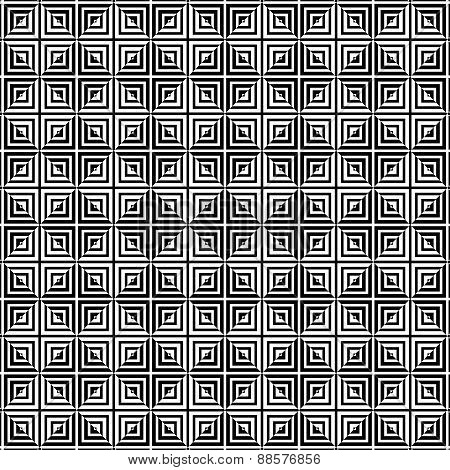 Square tiles seamless pattern, black and whiteWeb