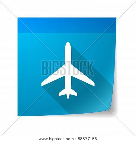 Sticky Note Icon With A Plane