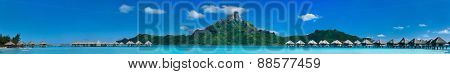 Beautiful view of Otemanu mountain on Bora Bora island. Wide panorama perfect fpr banner