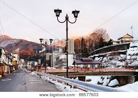 Hot spring resort town Shibu Onsen in Nagano Japan at winter