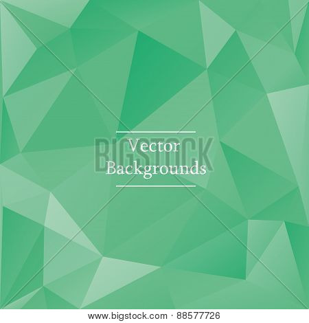 Abstract triangles background in green color
