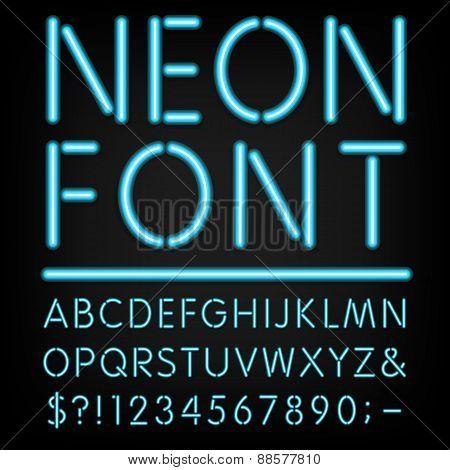 Neon Light Alphabet Vector Font