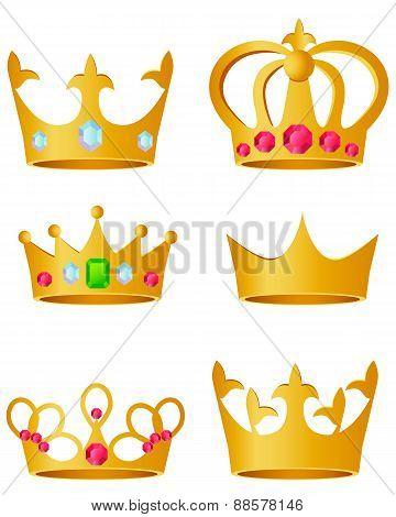 Set golden crown on a white background. Vector illustration