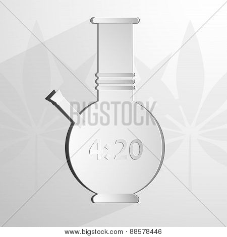 stylized white bong with an inscription 4 20. Vector background