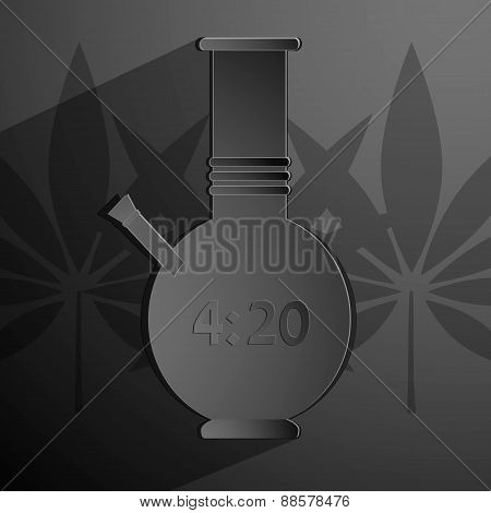 stylized black bong with an inscription 4 20. Vector background