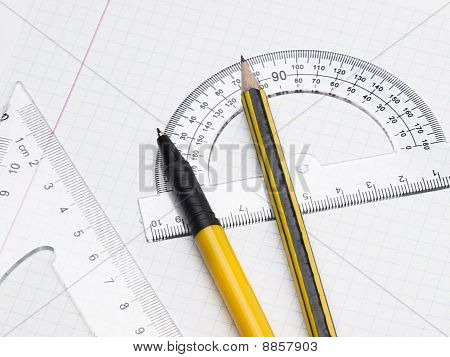 Set Of Tools For Drawing On The Workbook Page