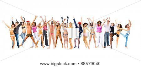 People Jumping Success Concept