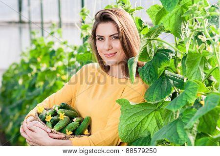 Portrait of young female gardener