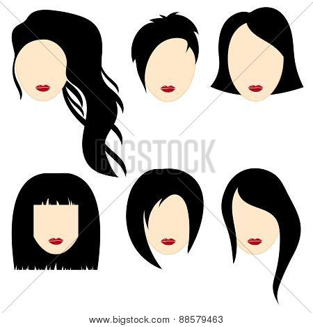 Vector Illustration Of A Beautiful Girls With Black Hair.part 2