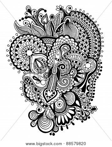 black zentangle line art flower drawing