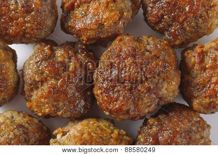 detail of fresh hot meatballs backgrounds