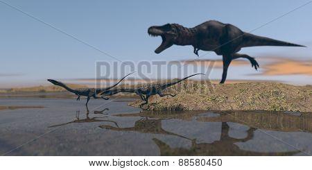coelophysis chased by tarbosaurus