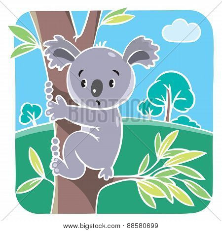 Children vector illustration of funny koala