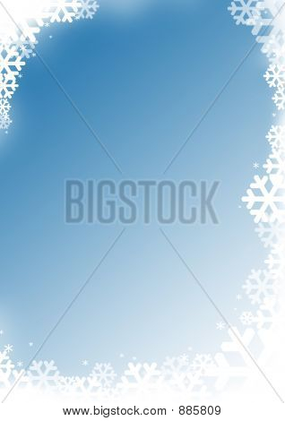 Frosted Snow Flakes Background Frame