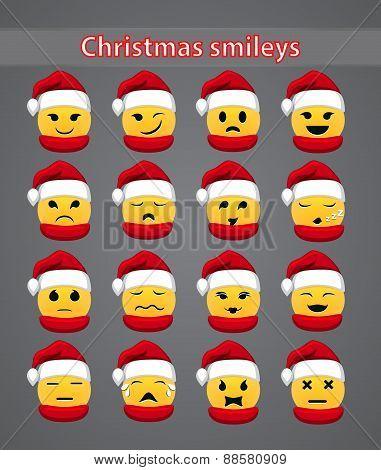 Set of celebratory Christmas smileys for your forum. vector illustration