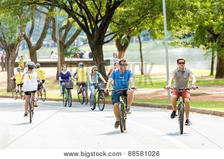 SAO PAULO, BRAZIL - CIRCA MARCH 2015: People riding bike in Ibirapuera Park in Sao Paulo, Brazil.