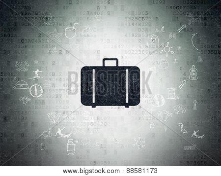 Travel concept: Bag on Digital Paper background