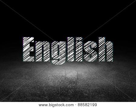 Education concept: English in grunge dark room