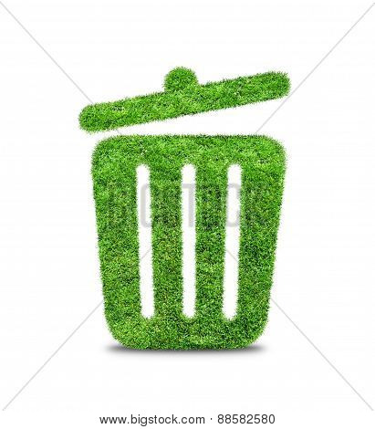 Green Grass  Trash Can Isolated On White.