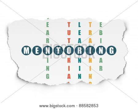 Education concept: word Mentoring in solving Crossword Puzzle