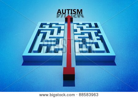 autism against red arrow cutting through maze