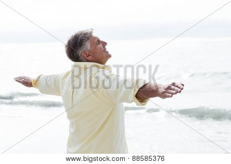 Smiling man standing by the sea arms outstretched at the beach