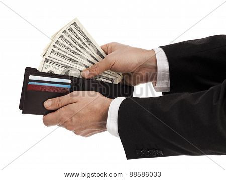 Holding Wallet With Money