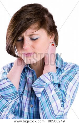Pretty brunette with neck pain on white background