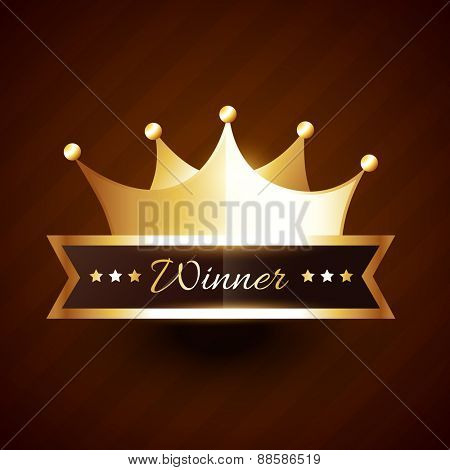 beautiful golden crown design with winner text vector illustration