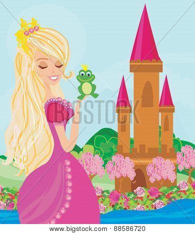 Beautiful Young Princess Holding A Big Frog